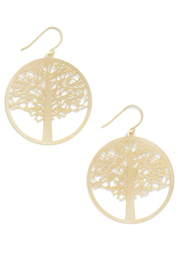 To a Tree Earrings - Gold, Solid, Casual, Boho, Gold