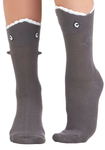 Grab a Bite Socks - Grey, White, Print with Animals, Quirky, Knitted