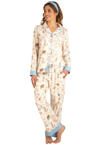 Dream Destination Pajamas by Munki Munki - Multi, Trim, Pockets, Casual, Travel, Winter, Holiday Sale