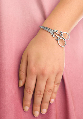 One Thing's for Shear Bracelet in Silver - Silver, Solid, Quirky, Tis the Season Sale, Variation