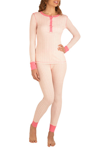 Long Bonbons Pajamas - Tan / Cream, Stripes, Pink