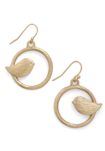 A Chance Tweeting Earrings - Gold, Print with Animals, Gold, Top Rated