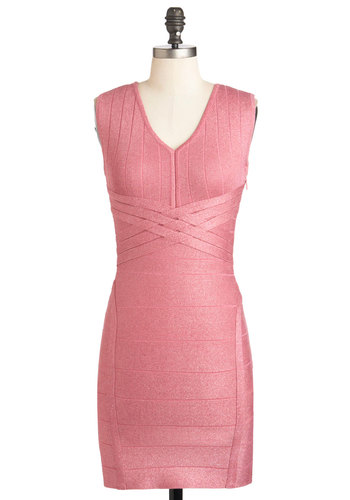 Out and Adorable Dress - Pink, Solid, Bodycon / Bandage, Sleeveless, Short, Party, Girls Night Out