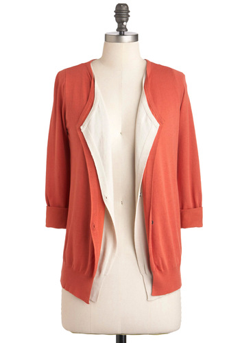Easy Sunday Cardigan - Orange, Tan / Cream, Buttons, Work, Long Sleeve, Mid-length, Casual, Fall, Coral