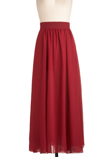 Carmine All Mine Skirt - Red, Solid, Maxi, Exclusives, Tis the Season Sale, Long