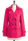 Saucy Saffron Coat in Pink - Pink, Solid, Buckles, Pockets, Long Sleeve, Mid-length, 3, Casual, Winter