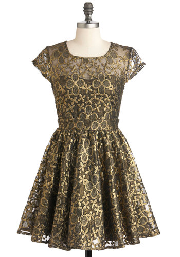 Golden Garden Dress - Gold, Black, Cutout, Party, Cap Sleeves, Mid-length, Fit & Flare, Holiday Party