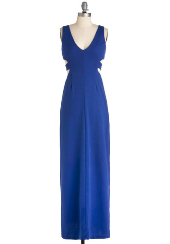 Seaside by Side Dress - Blue, Solid, Cutout, Exposed zipper, Maxi, Long, Girls Night Out, Sleeveless, Beach/Resort