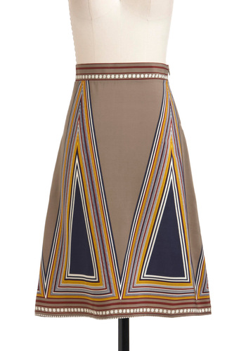 I Prism So Skirt - Multi, Blue, Grey, A-line, Long, Party, Work, Casual, Vintage Inspired, 60s