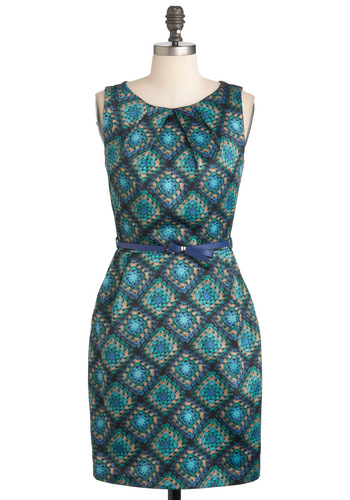 Crocheted You Look Dress - Blue, Sheath / Shift, Sleeveless, Mid-length, Multi, Crochet, Belted, Party, Vintage Inspired, 60s, Work, Graduation