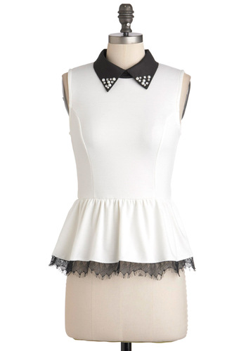 Harp Performance Top - Mid-length, White, Black, Solid, Pearls, Rhinestones, Girls Night Out, Peplum, Sleeveless, Urban