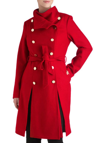 Jeune Philly Coat by Ladakh - Long, 3, Red, Solid, Buttons, Double Breasted, Long Sleeve, Winter, Pockets, Belted