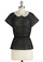 BTB SS CROCHET PEPLUM TOP W/ P in Black/Cream
