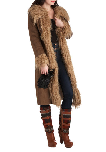 I'm With the Banff Coat by BB Dakota - Long, Brown, Solid, Long Sleeve, Winter, 3