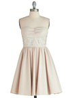 Greenhouse Peek Dress - Tan, Cutout, Daytime Party, Fit & Flare, Strapless, Mid-length, Solid, Exclusives, Graduation, Prom