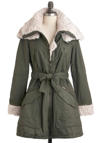 Warm Memories Coat - Green, Tan / Cream, Pockets, Belted, Military, Long Sleeve, Long, 4, Winter