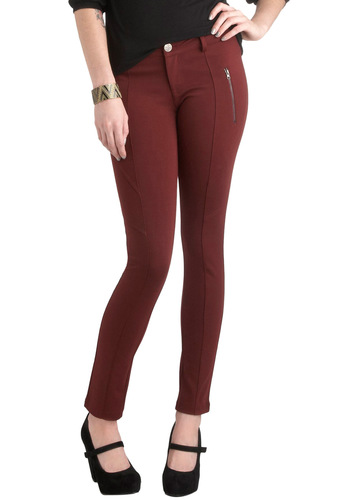Caber-neigh Pants - Red, Solid, Casual, Skinny, Exposed zipper, Pockets, Urban, Fall