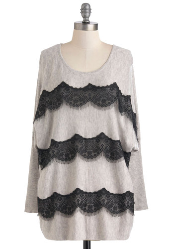 Glamorous As Usual Top - Grey, Black, Solid, Lace, Scallops, Casual, Long Sleeve, Mid-length