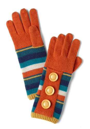 Groovy Kind of Gloves - Orange, Multi, Stripes, Buttons, Knitted, Winter, Vintage Inspired