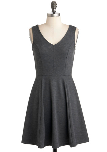 Busy Day Beautiful Dress - Grey, Solid, Casual, A-line, Sleeveless, Short, Work