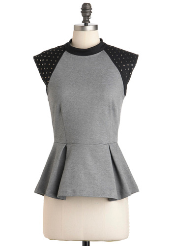 Dub Step by Step Top - Grey, Black, Solid, Studs, Urban, Cap Sleeves, Mid-length, Party, Work