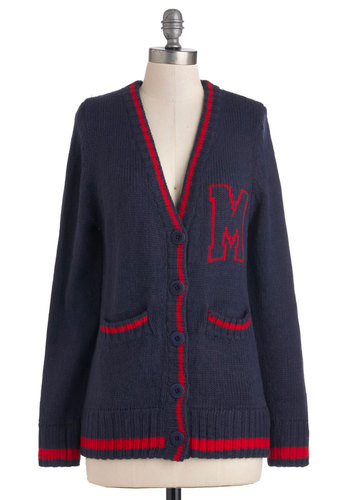 Red-Letter Day Cardigan - Blue, Red, Solid, Buttons, Pockets, Casual, Long Sleeve, Fall, Trim, Scholastic/Collegiate, Mid-length