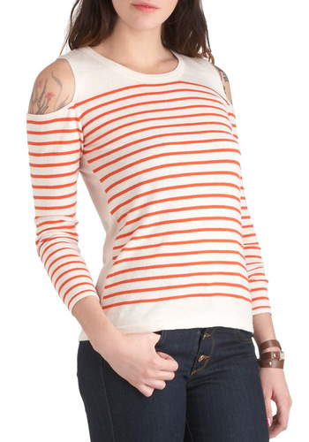 Shoulder and Wiser Top - Mid-length, Red, White, Stripes, Cutout, Casual, Long Sleeve, Nautical