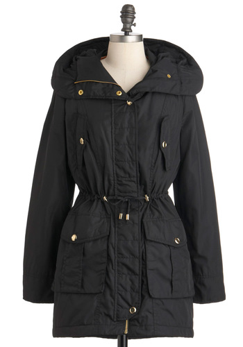 A Walk in the Parka Coat by Steve Madden - Long, Black, Solid, Casual, Hoodie, Winter, 3, Pockets