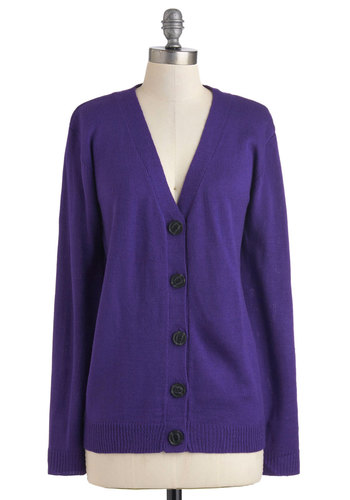 Vivid in Violet Cardigan - Purple, Solid, Buttons, Casual, Long Sleeve, Fall, 80s, Mid-length