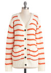 Alone Time Cardigan - Orange, White, Stripes, Buttons, Pockets, Casual, Long Sleeve, Sheer, Knitted, Fall