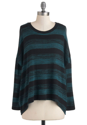 Tide Pool Picnic Top - Black, Blue, Stripes, Long Sleeve, Casual, Menswear Inspired