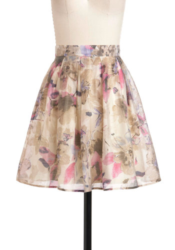 Opulent Bloom Skirt - Mid-length, Purple, Pink, Tan / Cream, Floral, Daytime Party, A-line, Spring
