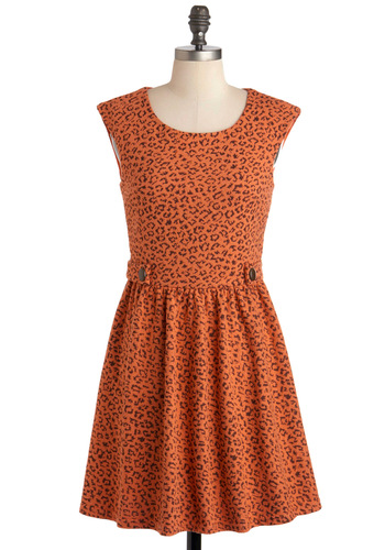 Fine Sprint Dress - Mid-length, Orange, Black, Animal Print, Casual, A-line, Sleeveless