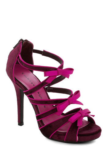 First Crush Heel - Red, Pink, Bows, Trim, High, Strappy, Party, Girls Night Out, Pinup, Formal