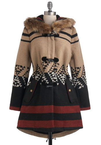 Tularosa Coat in Daybreak by BB Dakota - Long, 3, Red, Brown, Tan / Cream, Black, Print, Casual, Hoodie, Winter