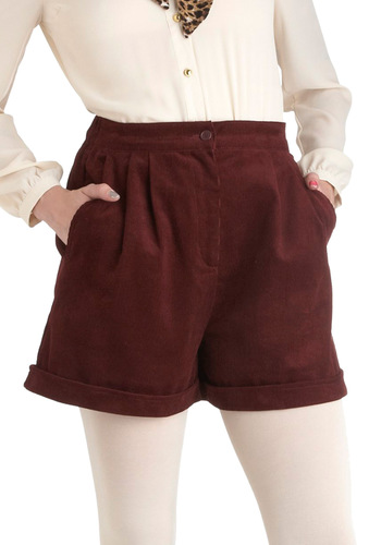 Cord-ing to Plan Shorts - Cotton, Red, Solid, Pockets, Casual, Short, Scholastic/Collegiate
