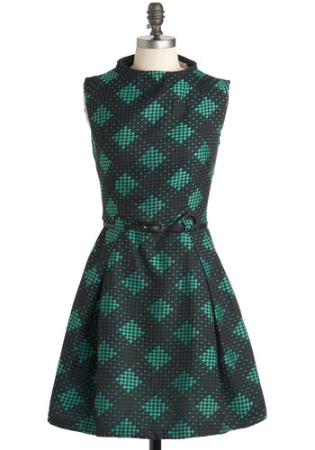 Playhouse Regular Dress by Louche - Mid-length, Black, Belted, Work, Fit & Flare, Sleeveless, Pockets, Green, Houndstooth, Holiday Party, International Designer