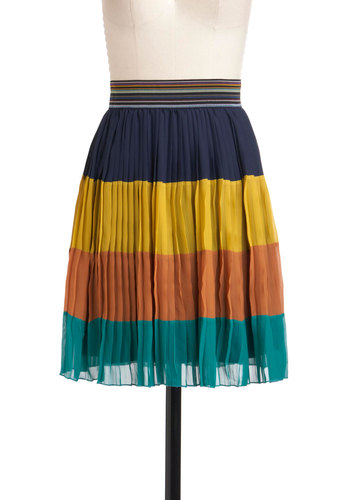 Twist of Haight Skirt by Louche - Orange, Yellow, Blue, Stripes, Pleats, Party, A-line, Short, Casual, International Designer