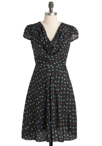 Gondola Engagement Dress in Black by Louche - Mid-length, Black, Multi, Floral, Casual, A-line, Cap Sleeves, Cowl, Vintage Inspired, 50s, International Designer