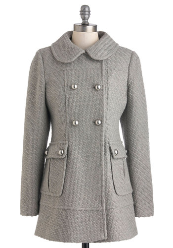 Don't Stop Be-weaving Coat - Grey, Solid, Buttons, Pockets, Long Sleeve, Winter, Long, 3, Casual