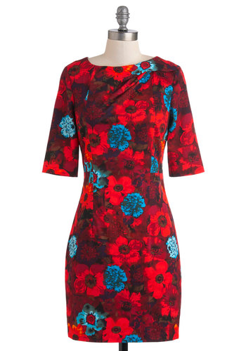 Feel the Vibrant Dress by Louche - Mid-length, Red, Blue, Floral, Exposed zipper, Sheath / Shift, 3/4 Sleeve, Party, Statement, International Designer