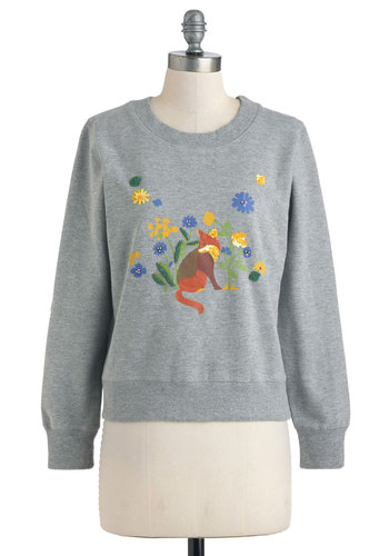 That's All, Fox Top by Yumi - Grey, Yellow, Green, Blue, Brown, Print with Animals, Sequins, Casual, Long Sleeve, Cotton, Mid-length