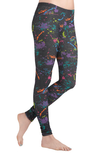 Splatter of Success Leggings - Orange, Green, Blue, Purple, Pink, Print, 80s, Quirky, Skinny, Jersey, Multi