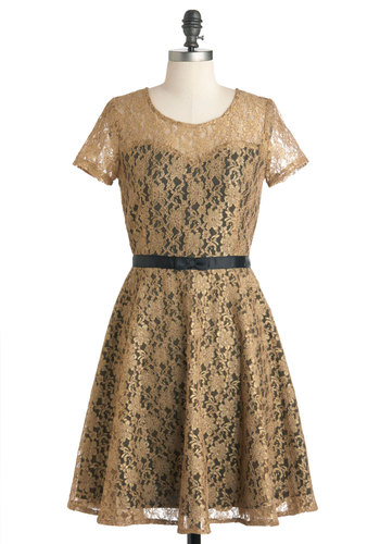 Truth Be Gold Dress by Yumi - Gold, Black, Lace, Party, Vintage Inspired, A-line, Short Sleeves, Mid-length, Sheer, Holiday Party