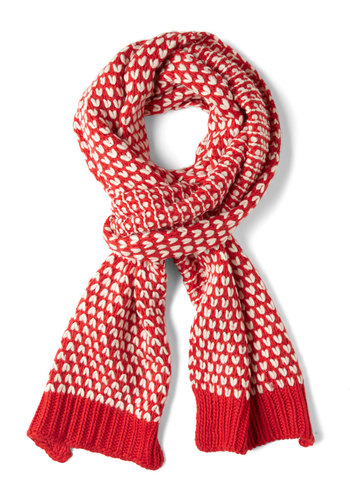 Raising Cane Scarf by Louche - Tan / Cream, Knitted, Winter, Red, Red, Holiday, International Designer