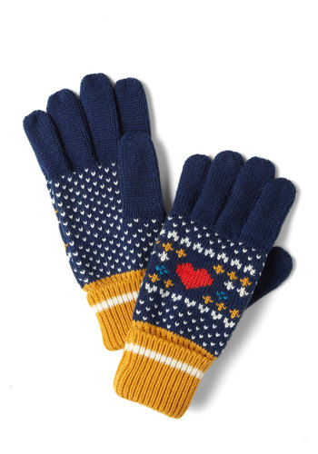 Heart Warming Gloves by Louche - Blue, Multi, Print, Knitted, Winter, International Designer
