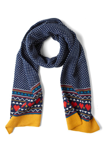 Heart Warming Scarf by Louche - Blue, Multi, Print, Winter, Knitted, International Designer