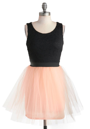 Night Tutu Remember Dress - Pink, Prom, Party, Short, Black, Ballerina / Tutu, Tank top (2 thick straps), Pastel, Twofer