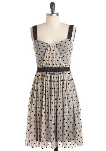 You Mist a Spot Dress - Mid-length, Black, Polka Dots, A-line, Sleeveless, Tan / Cream, Bows, Party