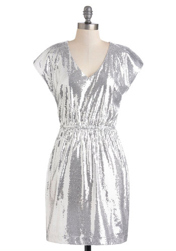 Great Lake Shimmers Dress by BB Dakota - Mid-length, Silver, Sequins, Party, Shift, Short Sleeves, Luxe, Statement, Solid, Holiday Party